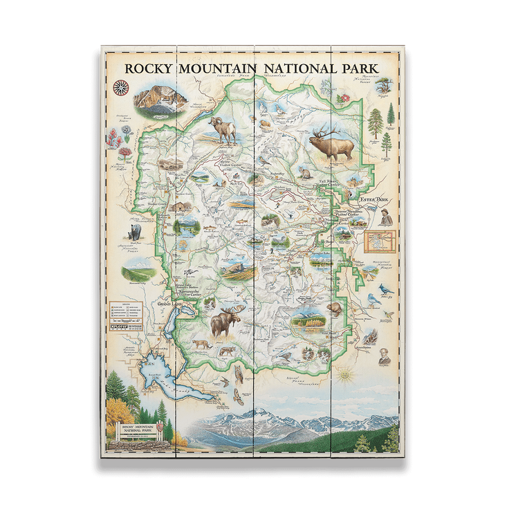 Rocky Mountain National Park Xplorer Map - Old Wood Signs