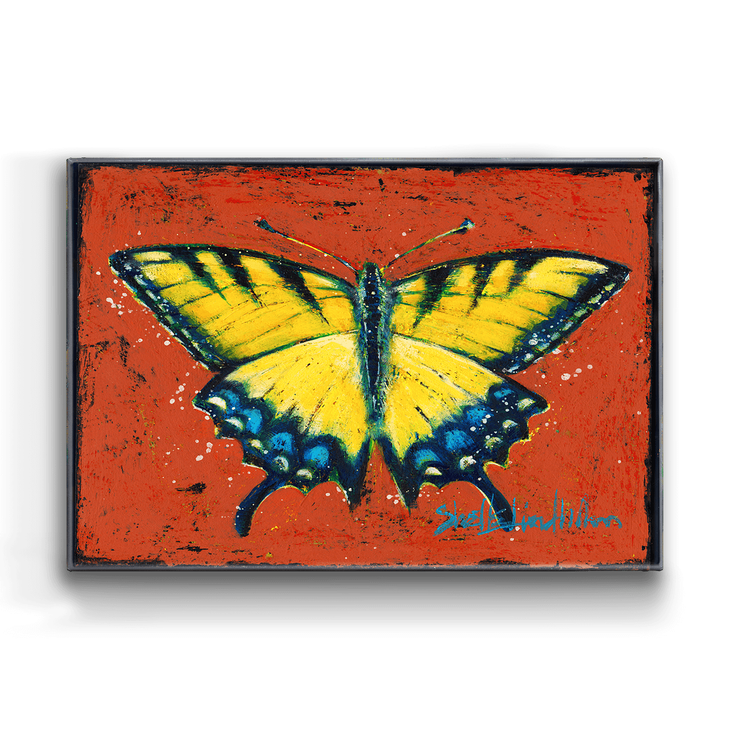 Yellow Swallowtail Butterfly Box Art Old Wood Signs
