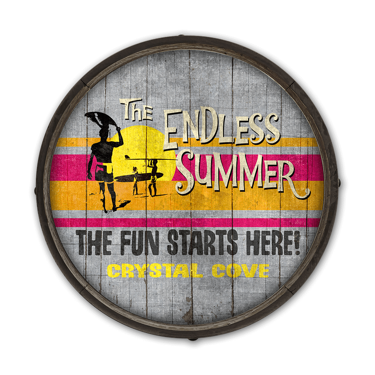 Endless Summer Fun Starts Barrel End Wooden Sign Old