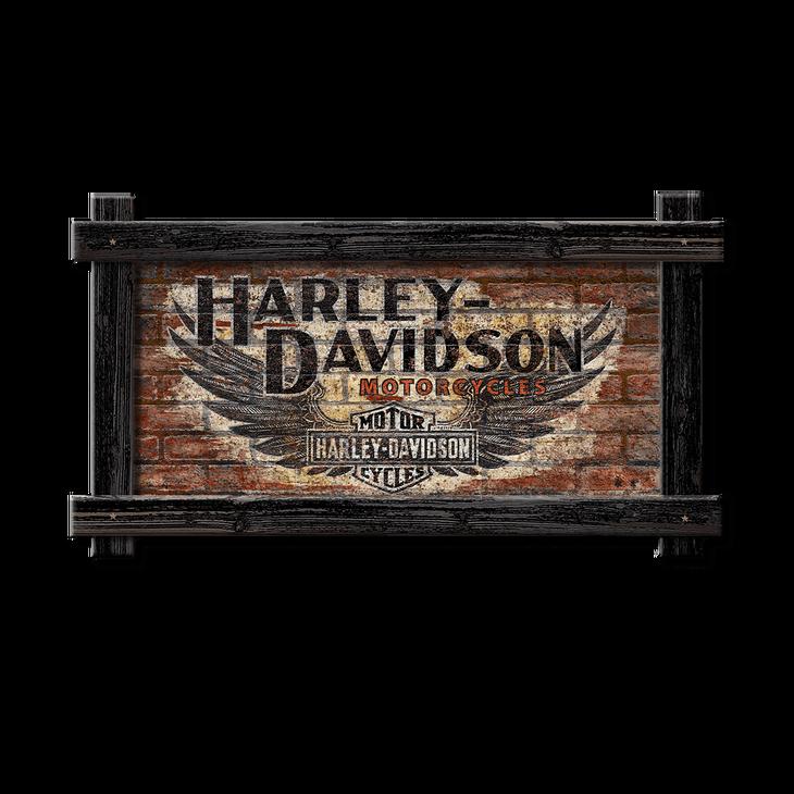 Harley Davidson Black Wing Brick Sign Old Wood Signs