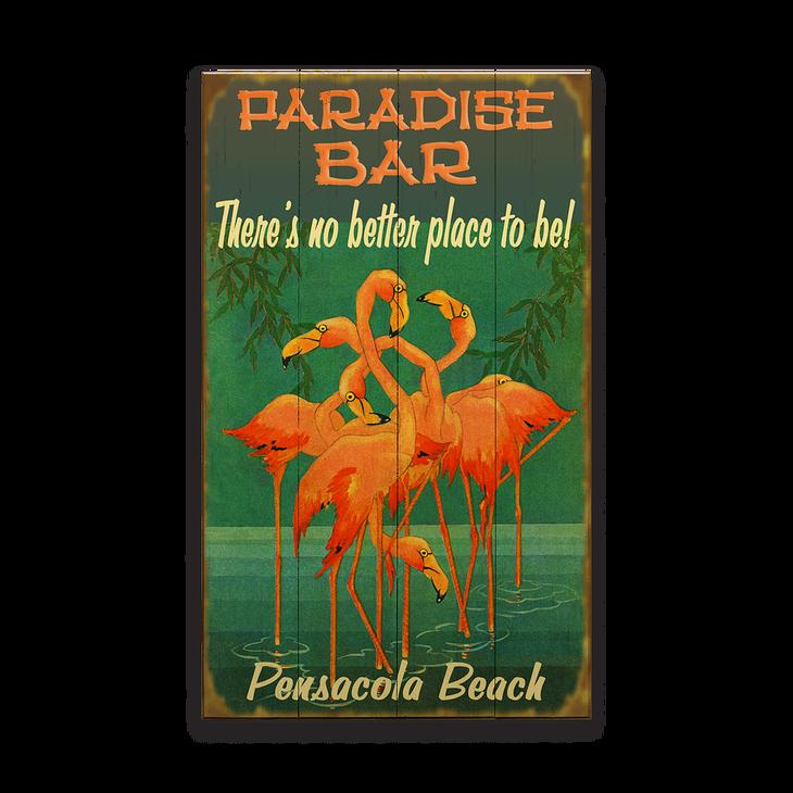 Flamingos Paradise Bar Sign Old Wood Signs