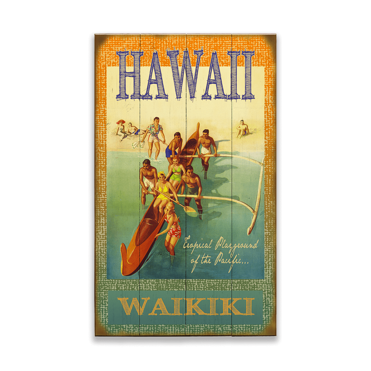 Hawaiian Outrigger Canoe Sign Old Wood Signs