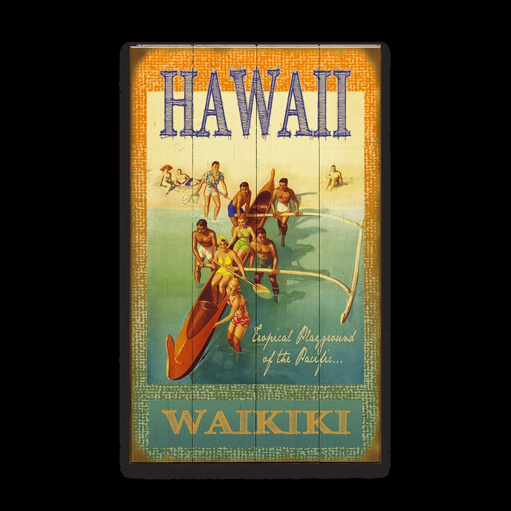 Hawaiian Outrigger Canoe Sign Old Wood Signs