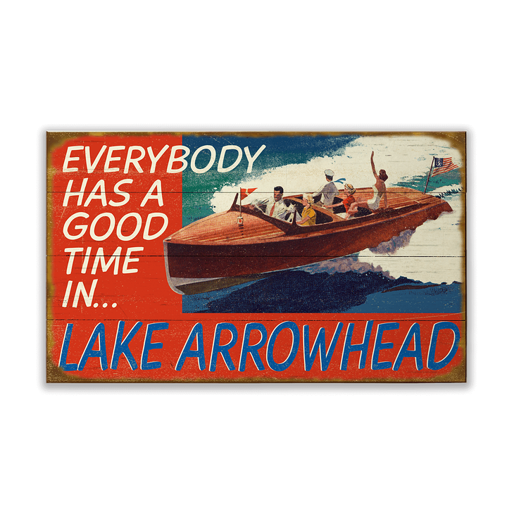 Everybody Has A Good Time In Boating Sign Old Wood