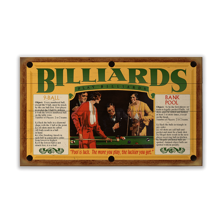 Billiard Room Rules Sign Old Wood Signs