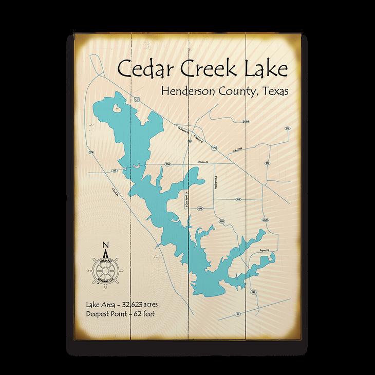 Cedar Creek Lake Texas Map Sign Old Wood Signs
