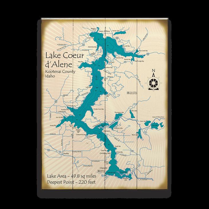 Lake Coeur D Alene Idaho Map Sign Old Wood Signs