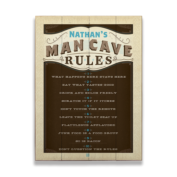 Man Cave Rules Sign Old Wood Signs